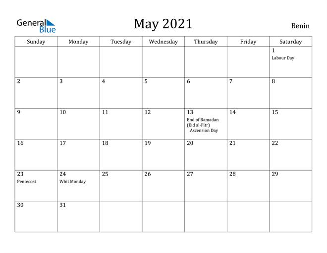Image of May 2021 Benin Calendar with Holidays Calendar