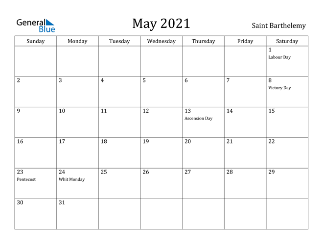 Image of May 2021 Saint Barthelemy Calendar with Holidays Calendar