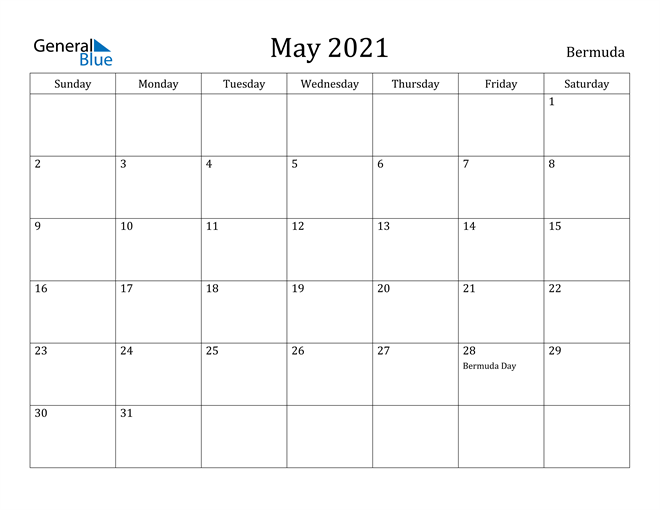 Image of May 2021 Bermuda Calendar with Holidays Calendar