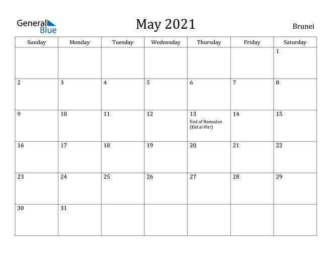 Image of May 2021 Brunei Calendar with Holidays Calendar