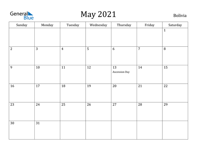 Image of May 2021 Bolivia Calendar with Holidays Calendar