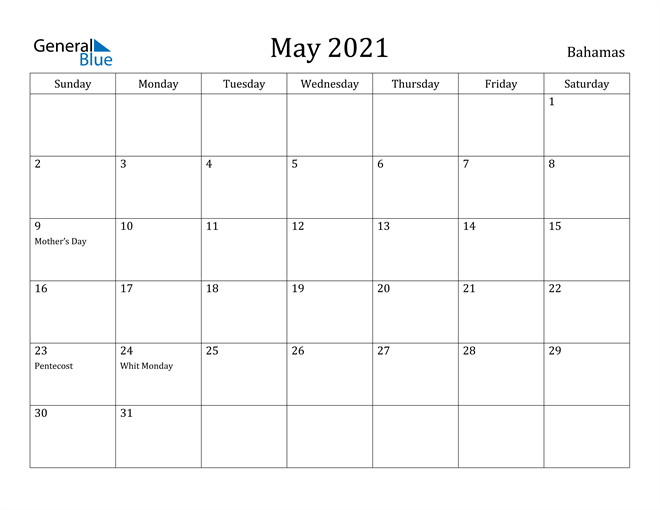 Image of May 2021 Bahamas Calendar with Holidays Calendar