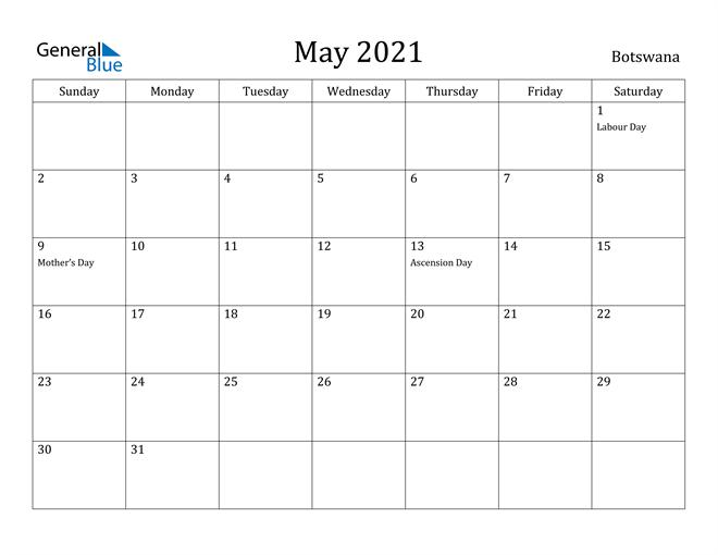 Image of May 2021 Botswana Calendar with Holidays Calendar