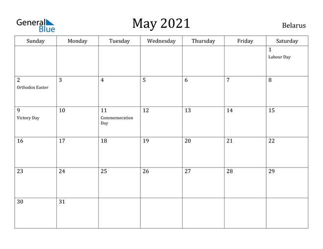 Image of May 2021 Belarus Calendar with Holidays Calendar