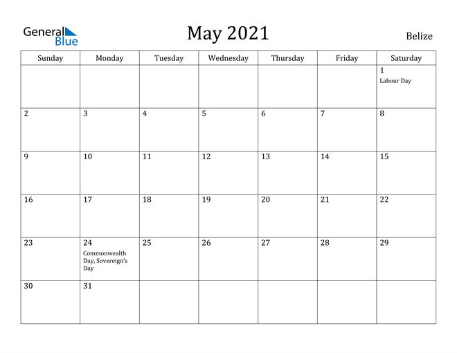 Image of May 2021 Belize Calendar with Holidays Calendar
