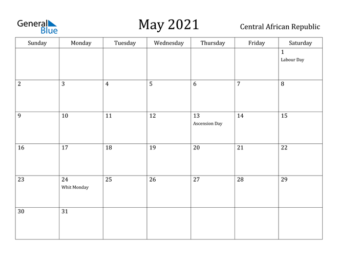 Image of May 2021 Central African Republic Calendar with Holidays Calendar