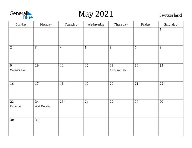 Image of May 2021 Switzerland Calendar with Holidays Calendar