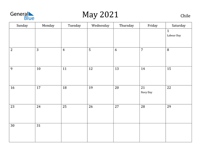 Image of May 2021 Chile Calendar with Holidays Calendar
