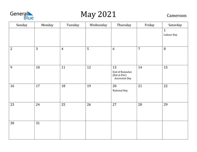 Image of May 2021 Cameroon Calendar with Holidays Calendar