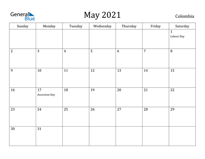 Image of May 2021 Colombia Calendar with Holidays Calendar