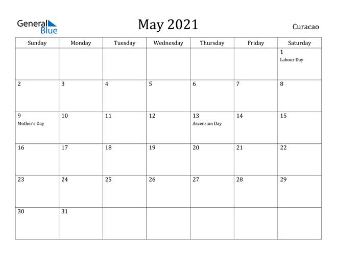 Image of May 2021 Curacao Calendar with Holidays Calendar