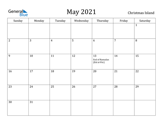 Image of May 2021 Christmas Island Calendar with Holidays Calendar