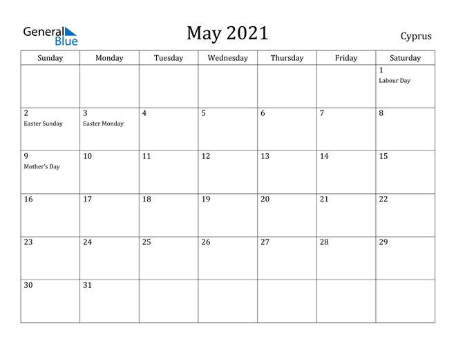 Image of May 2021 Cyprus Calendar with Holidays Calendar
