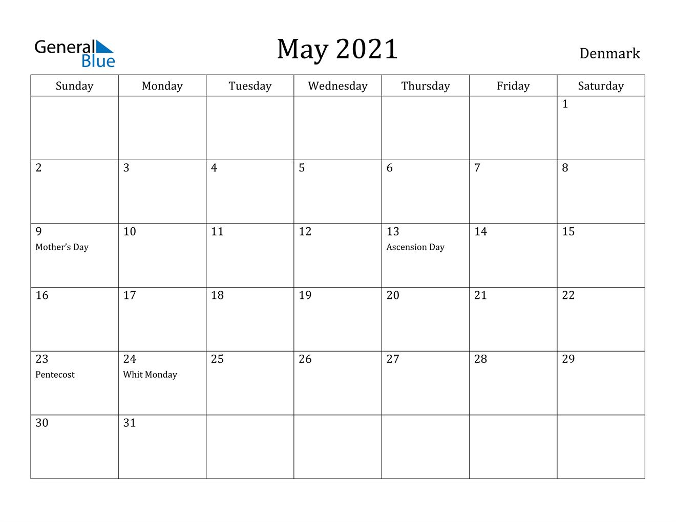May 2021 Calendar - Denmark