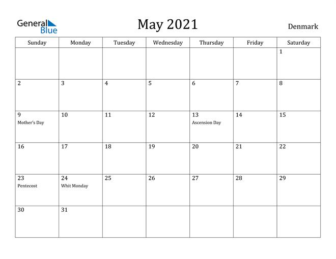 Image of May 2021 Denmark Calendar with Holidays Calendar