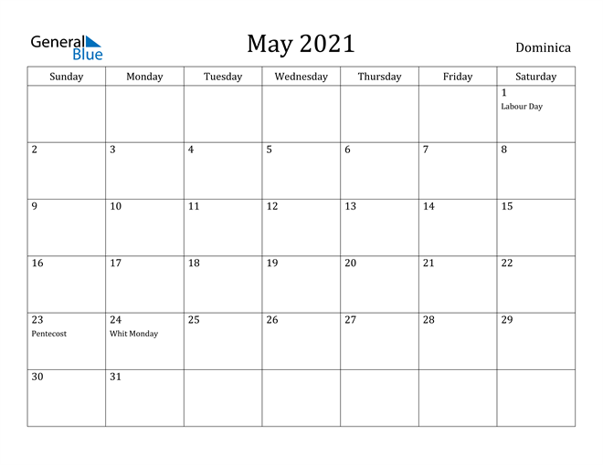 Image of May 2021 Dominica Calendar with Holidays Calendar