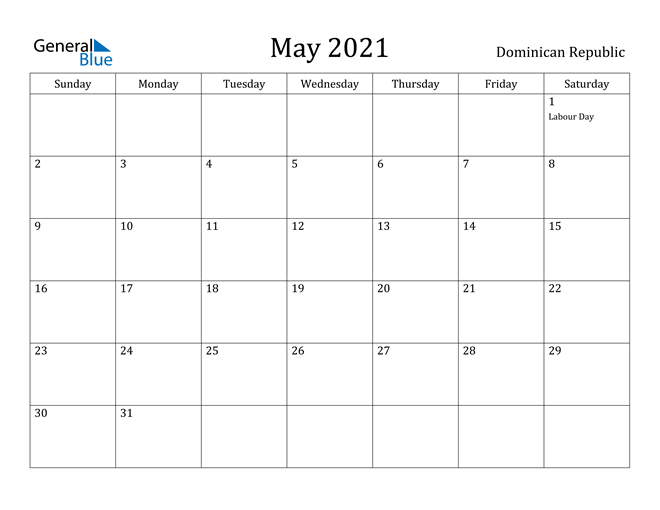 Image of May 2021 Dominican Republic Calendar with Holidays Calendar