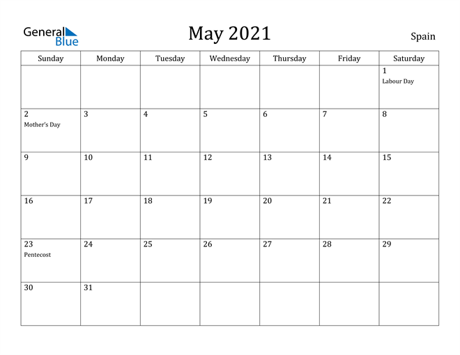 Image of May 2021 Spain Calendar with Holidays Calendar