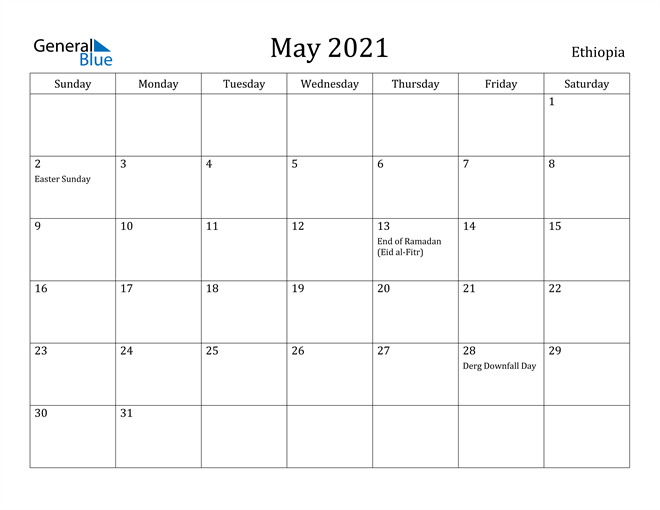 Image of May 2021 Ethiopia Calendar with Holidays Calendar