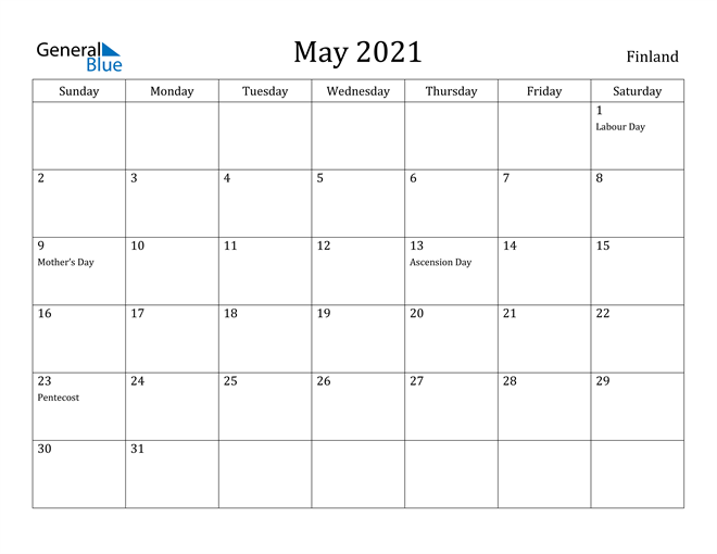 Image of May 2021 Finland Calendar with Holidays Calendar