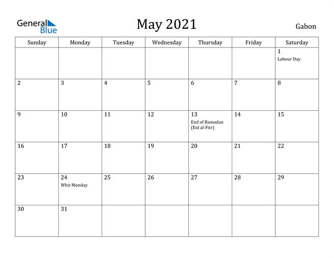 Image of May 2021 Gabon Calendar with Holidays Calendar