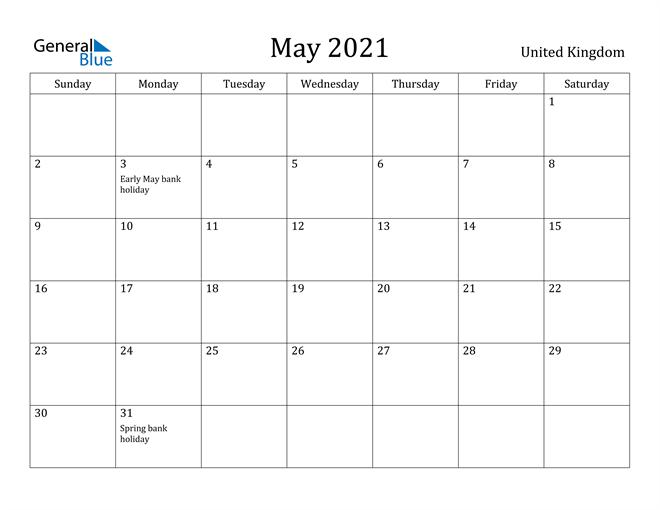 Image of May 2021 United Kingdom Calendar with Holidays Calendar