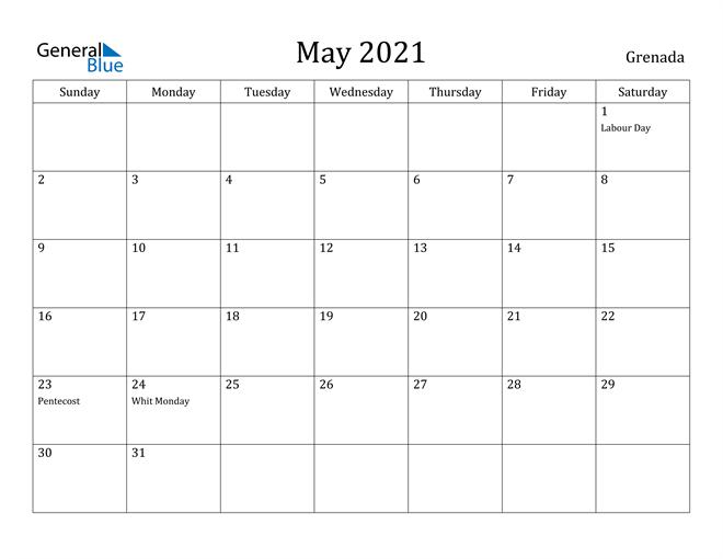 Image of May 2021 Grenada Calendar with Holidays Calendar