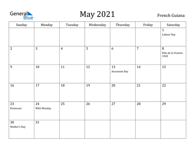 Image of May 2021 French Guiana Calendar with Holidays Calendar