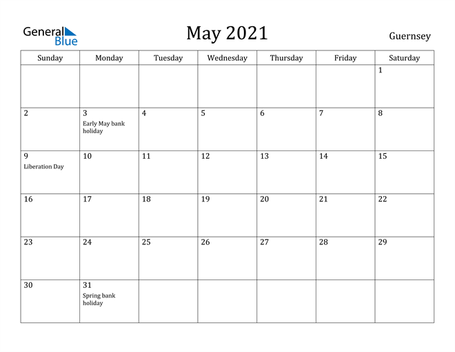 Image of May 2021 Guernsey Calendar with Holidays Calendar