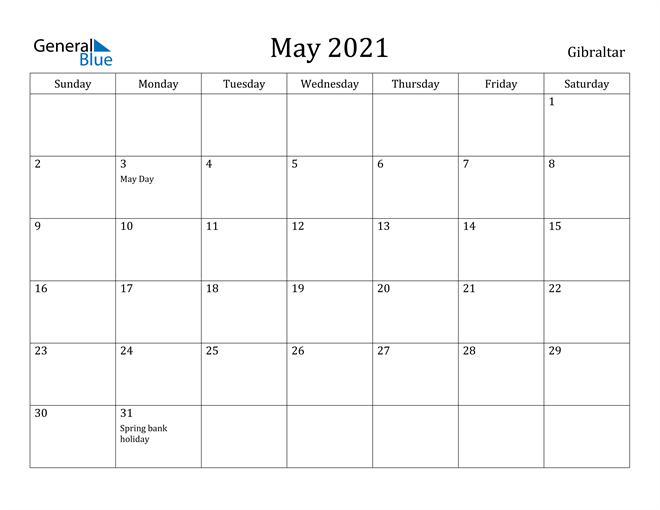 Image of May 2021 Gibraltar Calendar with Holidays Calendar
