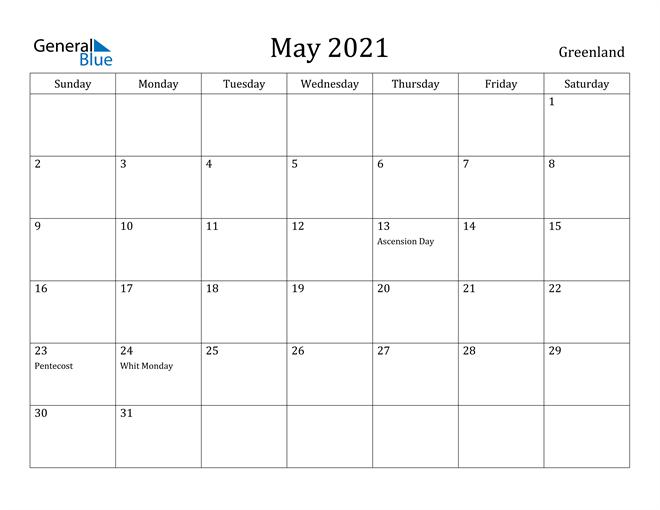 Image of May 2021 Greenland Calendar with Holidays Calendar