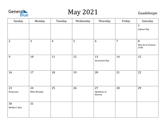 Image of May 2021 Guadeloupe Calendar with Holidays Calendar