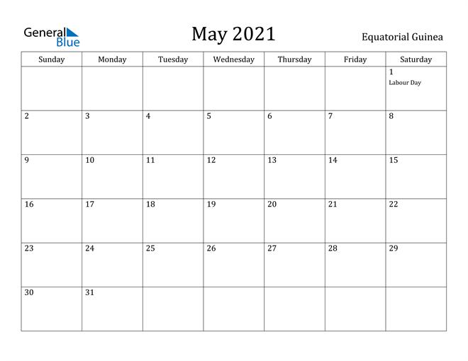 Image of May 2021 Equatorial Guinea Calendar with Holidays Calendar
