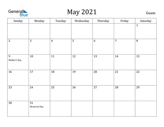 Image of May 2021 Guam Calendar with Holidays Calendar