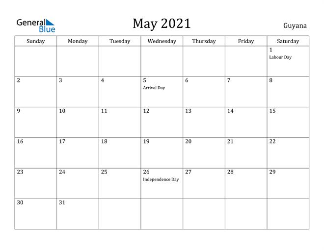 Image of May 2021 Guyana Calendar with Holidays Calendar