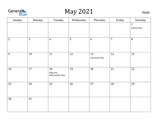 Image of May 2021 Haiti Calendar with Holidays Calendar