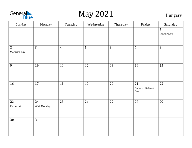 Image of May 2021 Hungary Calendar with Holidays Calendar