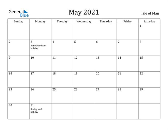 Image of May 2021 Isle of Man Calendar with Holidays Calendar