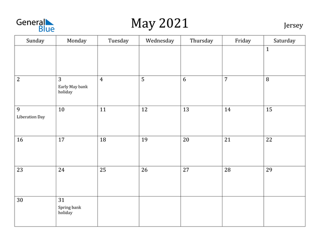 Image of May 2021 Jersey Calendar with Holidays Calendar