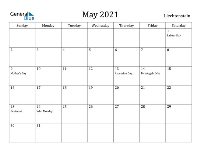 Image of May 2021 Liechtenstein Calendar with Holidays Calendar