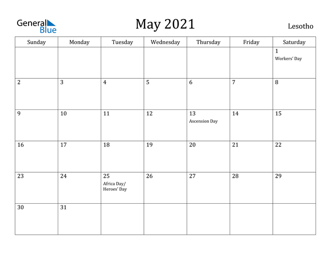 Image of May 2021 Lesotho Calendar with Holidays Calendar
