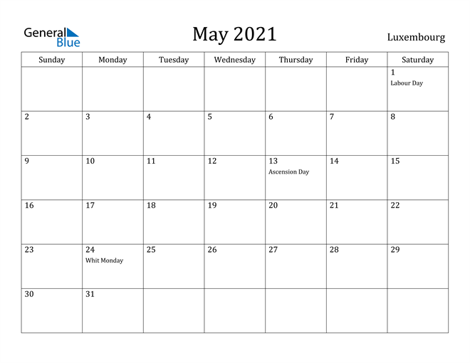 Image of May 2021 Luxembourg Calendar with Holidays Calendar
