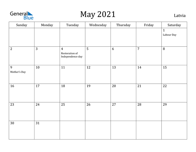 Image of May 2021 Latvia Calendar with Holidays Calendar