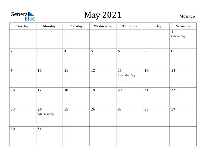 Image of May 2021 Monaco Calendar with Holidays Calendar