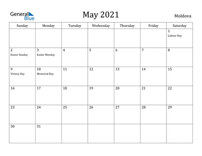 Image of May 2021 Moldova Calendar with Holidays Calendar