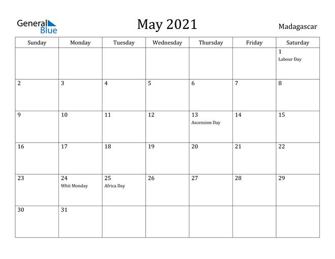 Image of May 2021 Madagascar Calendar with Holidays Calendar