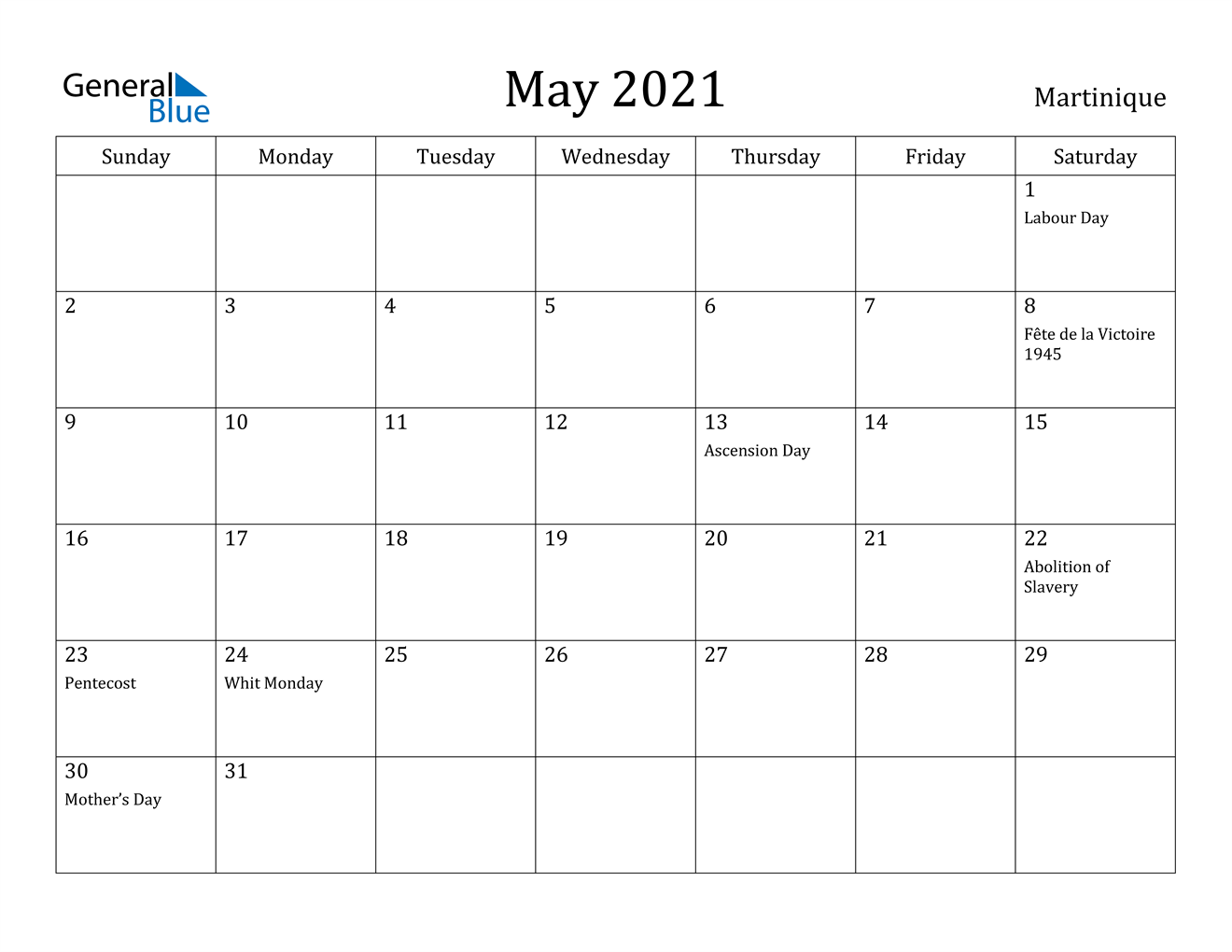 May 2021 Calendar - Martinique