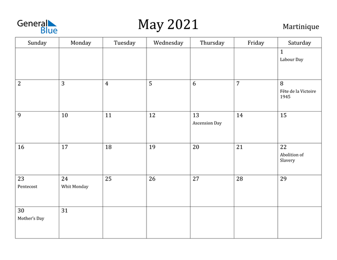 Image of May 2021 Martinique Calendar with Holidays Calendar
