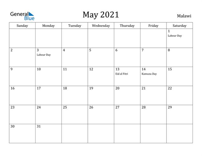 Image of May 2021 Malawi Calendar with Holidays Calendar