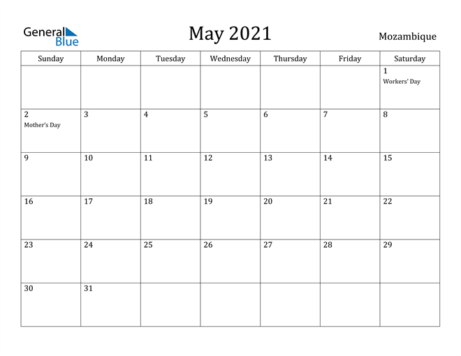 Image of May 2021 Mozambique Calendar with Holidays Calendar